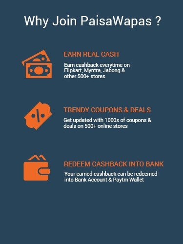 Join PaisaWapas to Earn Extra Cashback