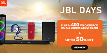 JBL Loot | Upto 50% Off + Flat Rs 400 Cashback on orders of Rs.700 or Above