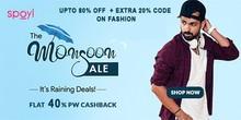 MONSOON SALE   Upto 80% Off on Fashion + Extra 20% Code on Fashion + 40% PW Cashback