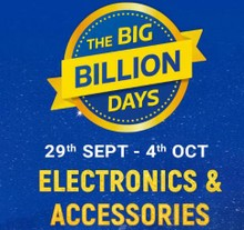 The Big Billion Days | Upto 90% Off on Electronics & Accessories + Extra 10% Off on Axis Bank Cards & ICICI Credit Cards (30th Sept-4th Oct)