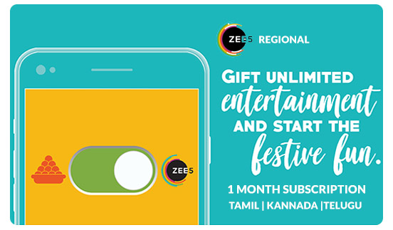 Zee5 E-Gift Card - Rs. 49 - 1 month Kannada, Tamil & Telugu Subscription
