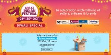 GREAT INDIAN FESTIVAL | Early Access for Prime Members at 12 noon, 20th Oct - Upto 90% Off + 10% Instant Discount+EMI Offer on Axis/Citi Bank Cards