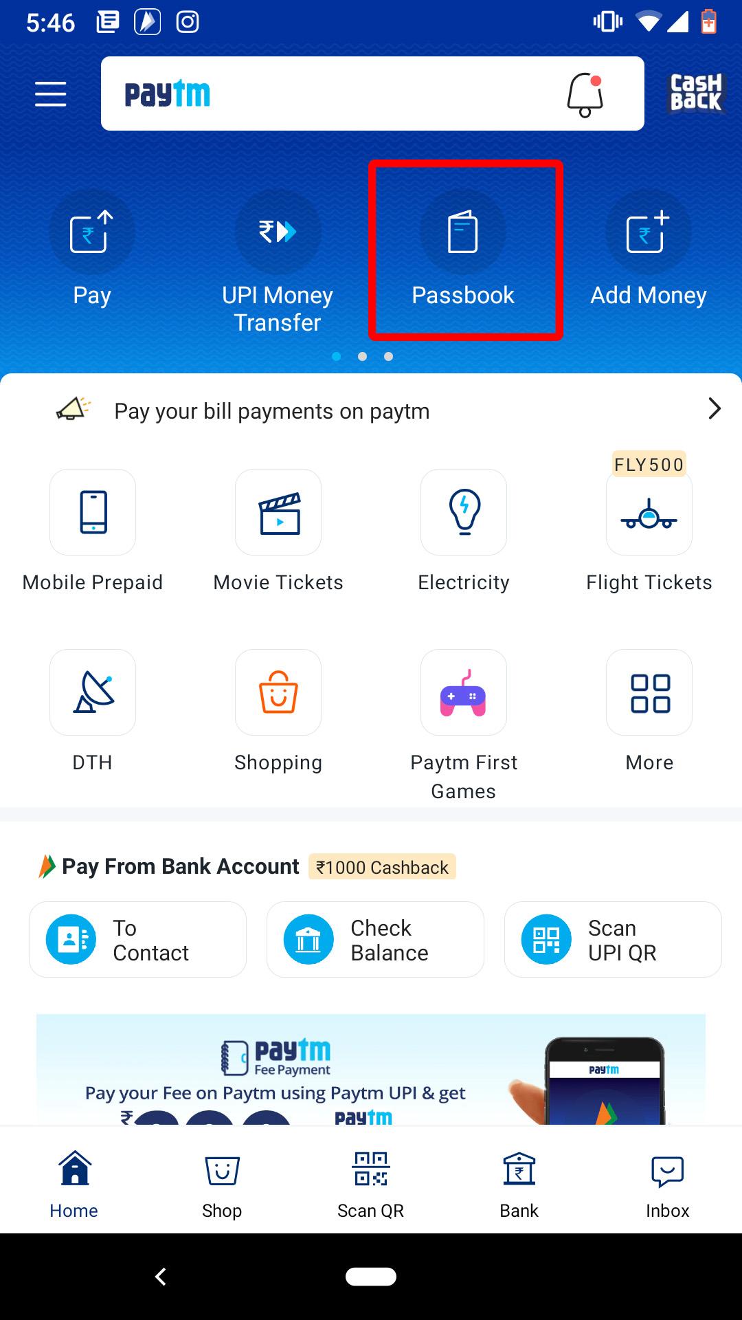 click on paytm pasbook