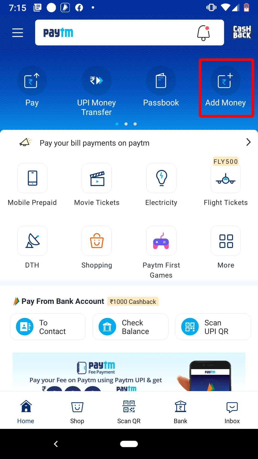 Add Money to Your Paytm
