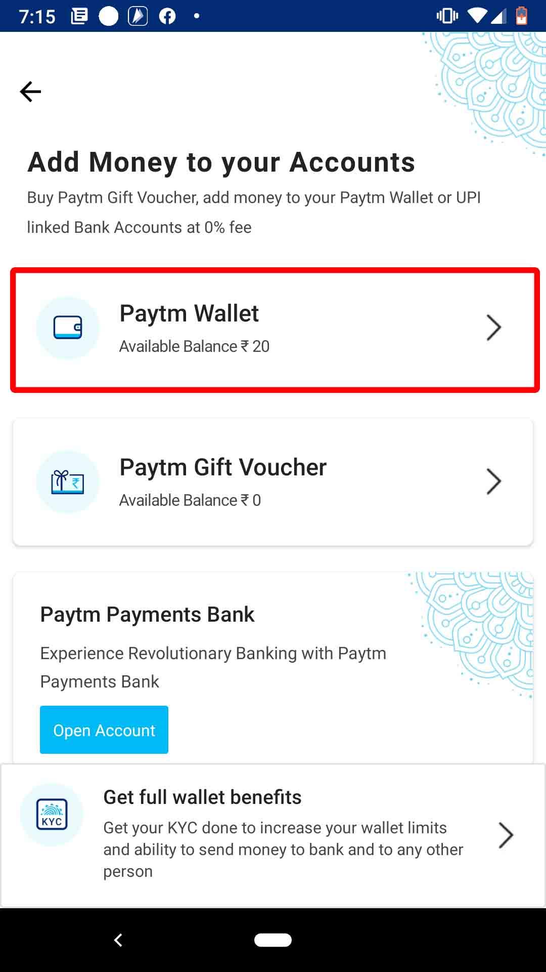 Tap Paytm Wallet
