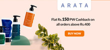 Flat Rs.150 PW Cashback + 35% Cashback to your Arata Wallet on Orders of Rs.999