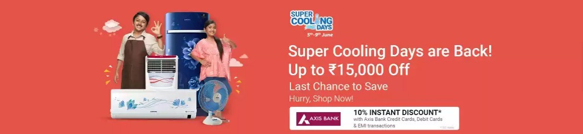SUPER COOLING DAYS | Upto 65% Off on ACs, Refrigerators, Air Coolers & More + Upto Rs. 2000 Off via Axis Cards