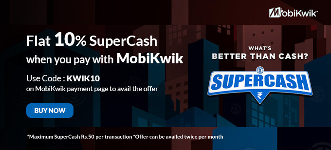 Flat 10% Off on Mobikwik Payment