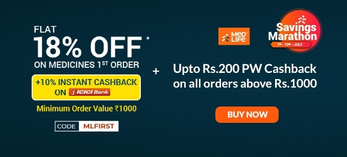 SAVINGS MARATHON | Flat 18% Off on Your First Order of Medicines + 10% Cashback on Payments with ICICI Cards