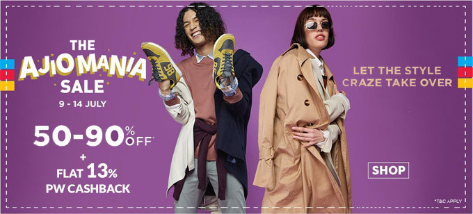 THE AJIOMANIA SALE | Flat 50%-90% Off 0n Fashion Styles, Valid On 2 Lakh + Styles