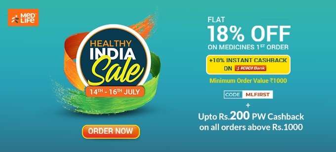 HEALTHY INDIA SALE | Flat 18% Off on Your First Order of Medicines + 10% Cashback on Payments with ICICI Cards