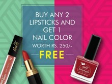 Buy Any 2 Lipsticks & Get Nail Color Free + Extra 5% Off On Prepaid Orders