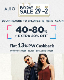PAYDAY SALE | Flat 40%-80% Off + Extra 20% Off on Rs.2490 & Above