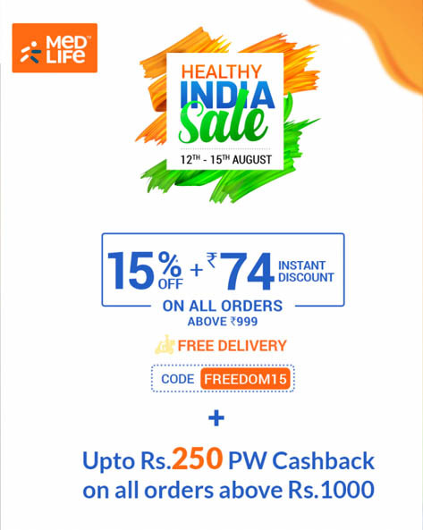 Medlife HEALTHY INDIA SALE | Get 15% + Rs 74 Instant Discount.