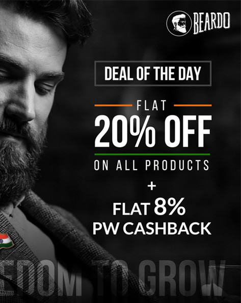 FREEDOM TO GROW | Flat 20% Off + Extra 15% Off on All Beardo Range