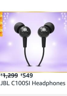 JBL C100SI In-Ear Deep Bass Headphones with Mic