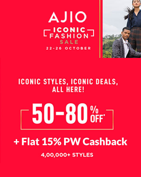AJIO ICONIC SALE | Flat 50%-80% Off on 4Lakh+ Fashion Styles
