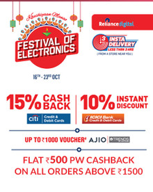 ELECTRONIC FESTIVAL   Upto 80% Off + 10% Instant Discount On ICICI Bank   15% CITI Bank Cashback