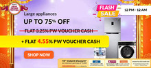 FLASH SALE 12 PM to 12 AM | Upto 75% Off on Large Appliances + 10% Instant Discount on AXIS, ICICI, CITI Bank Cards