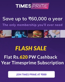FLASH SALE | Flat Rs. 400 Off Code + Rs.620 Cashback on Timesprime 1year Membership