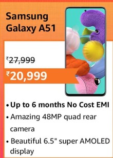 Samsung Galaxy A51 (6GB RAM, 128GB Storage) with No Cost EMI/Additional Exchange Offers