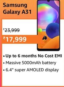 Samsung Galaxy A31 (6GB RAM, 128GB Storage) with No Cost EMI/Additional Exchange Offers