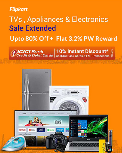 TVs & Appliances | Upto 75% Off + Extra 10% ICICI Discount + Exchange & No Cost EMI Offers