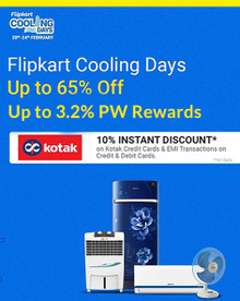 Flipkart Cooling Days | Upto 65% Off on ACs, Refrigerators, Air Coolers & More + 10% Discount via Kotak Cards