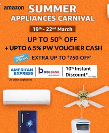 Up to 50% Off on Summer Appliances + Up to 10% instant discount using American Express and RBL Cards