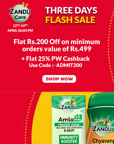 THREE DAYS FLASH SALE | Flat Rs.200 Off on Minimum Order Value of Rs.499