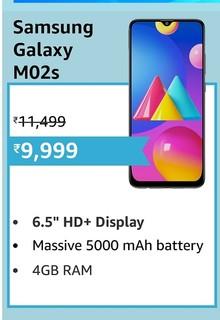 Samsung Galaxy M02s (Black,3GB RAM, 32GB Storage) | 5000 mAh | Triple Camera