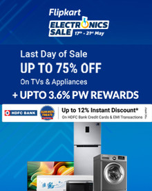 ELECTRONICS SALE   Upto 75% Off on TV & Appliances + Up to 12% Off on HDFC Bank Credit Card & EMI Transactions