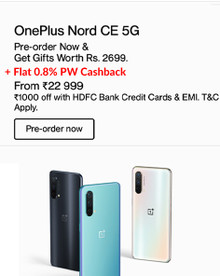 NEW LAUNCH | OnePlus Nord CE 5G + Rs.1000 Off with HDFC Bank Credit Cards & EMI (Open Sale Starts from 12 PM 16th June, Gifts worth Rs.1000 )
