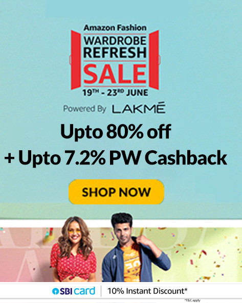 WARDROBE REFRESH SALE | Upto 80% Off on Fashion, Accessories, Home Furnishing & more + 10% Instant Discount via SBI Cards (19th-23th Jun)