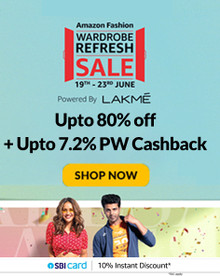 WARDROBE REFRESH SALE   Upto 80% Off on Fashion, Accessories, Home Furnishing & more + 10% Instant Discount via SBI Cards (19th-23th Jun)