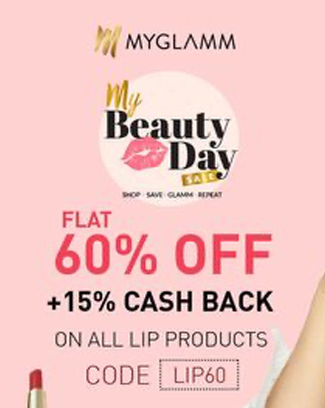 MYGLAMM BEAUTY FLASH SALE | Flat 60% Off + Extra 15% Off on All Lip Products