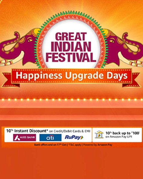 GREAT INDIAN FESTIVAL   Upto 80% Off + Extra 10% Axis/Citi/Rupay Off