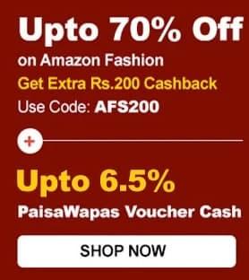 Amazon Fashion | Upto 80% Off + Extra Rs.200 Cashback + Extra 10% Axis/Citibank/Rupay Off