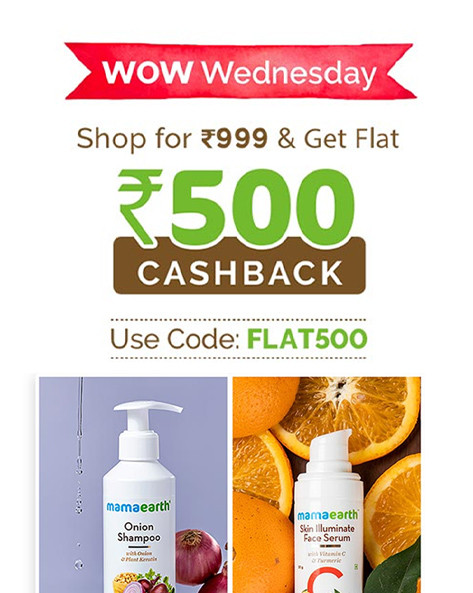 WOW WEDNESDAY SALE | Shop for Rs.999 & Get Flat Rs.500 Cashback